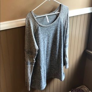 Gray and Tan Light sweater with stripe sleeve